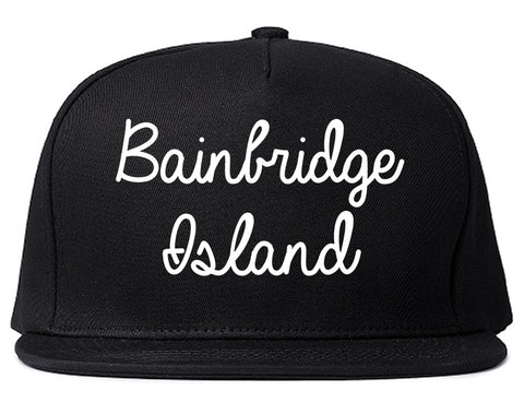 Bainbridge Island Washington WA Script Mens Snapback Hat Black