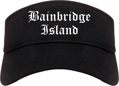 Bainbridge Island Washington WA Old English Mens Visor Cap Hat Black