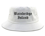 Bainbridge Island Washington WA Old English Mens Bucket Hat White