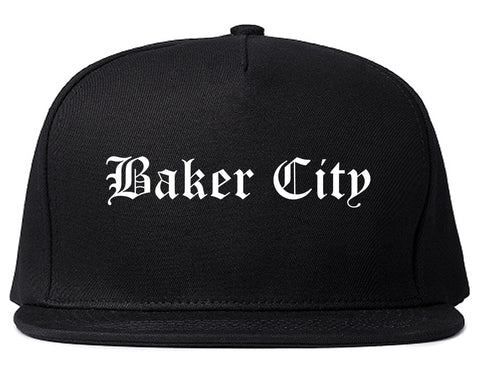 Baker City Oregon OR Old English Mens Snapback Hat Black
