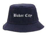Baker City Oregon OR Old English Mens Bucket Hat Navy Blue