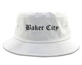 Baker City Oregon OR Old English Mens Bucket Hat White
