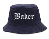 Baker Louisiana LA Old English Mens Bucket Hat Navy Blue