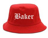Baker Louisiana LA Old English Mens Bucket Hat Red