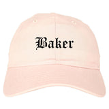 Baker Louisiana LA Old English Mens Dad Hat Baseball Cap Pink