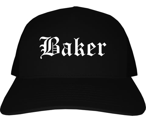 Baker Louisiana LA Old English Mens Trucker Hat Cap Black