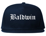 Baldwin Pennsylvania PA Old English Mens Snapback Hat Navy Blue