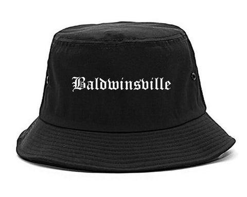 Baldwinsville New York NY Old English Mens Bucket Hat Black
