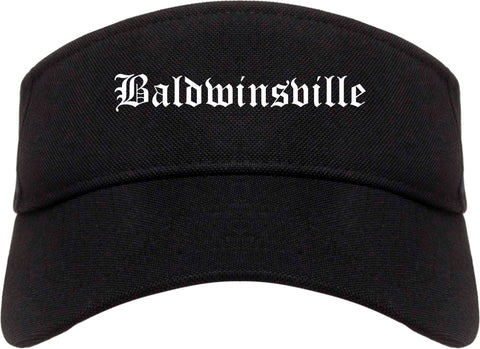 Baldwinsville New York NY Old English Mens Visor Cap Hat Black