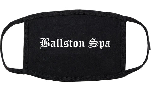 Ballston Spa New York NY Old English Cotton Face Mask Black