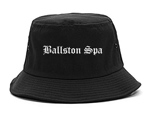 Ballston Spa New York NY Old English Mens Bucket Hat Black