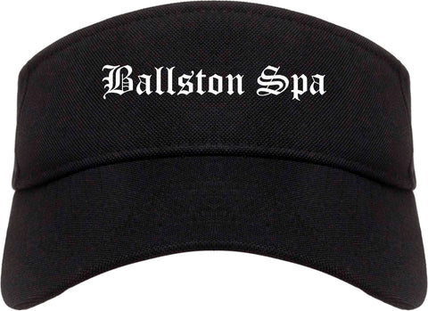 Ballston Spa New York NY Old English Mens Visor Cap Hat Black
