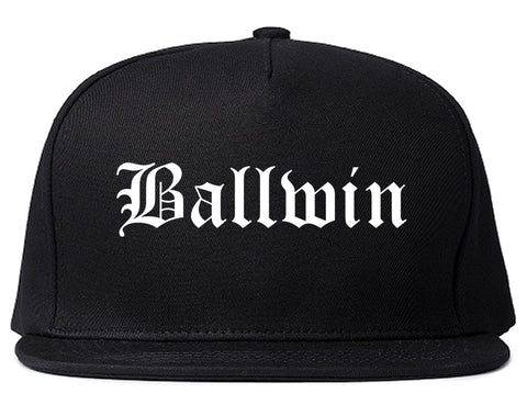 Ballwin Missouri MO Old English Mens Snapback Hat Black