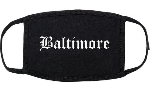 Baltimore Maryland MD Old English Cotton Face Mask Black
