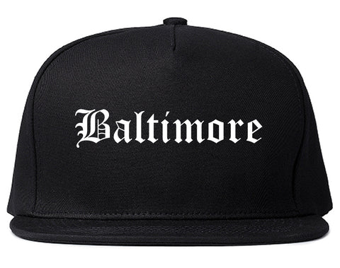 Baltimore Maryland MD Old English Mens Snapback Hat Black