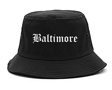 Baltimore Maryland MD Old English Mens Bucket Hat Black