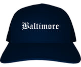 Baltimore Maryland MD Old English Mens Trucker Hat Cap Navy Blue