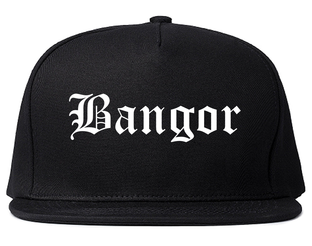 Bangor Maine ME Old English Mens Snapback Hat Black