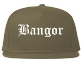 Bangor Maine ME Old English Mens Snapback Hat Grey