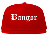 Bangor Maine ME Old English Mens Snapback Hat Red
