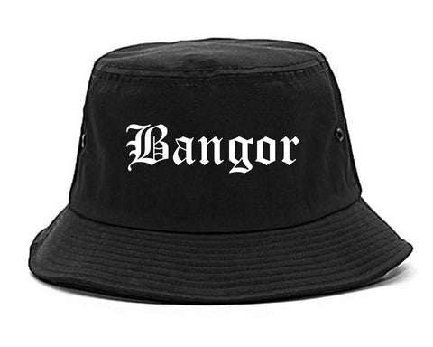 Bangor Maine ME Old English Mens Bucket Hat Black