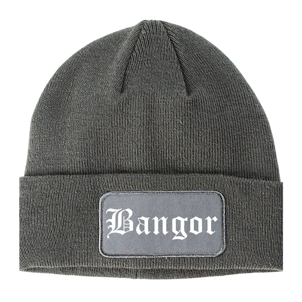 Bangor Maine ME Old English Mens Knit Beanie Hat Cap Grey