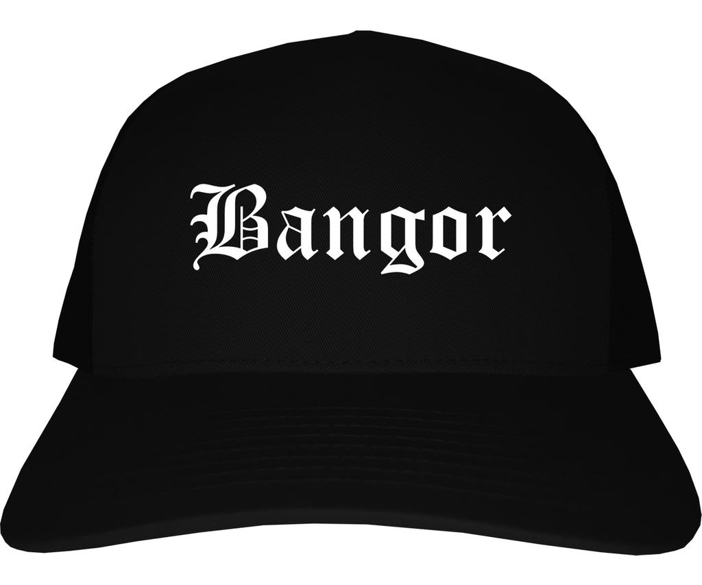 Bangor Maine ME Old English Mens Trucker Hat Cap Black