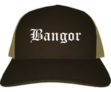 Bangor Maine ME Old English Mens Trucker Hat Cap Brown