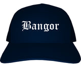 Bangor Maine ME Old English Mens Trucker Hat Cap Navy Blue