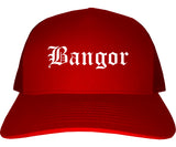 Bangor Maine ME Old English Mens Trucker Hat Cap Red