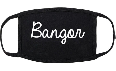 Bangor Maine ME Script Cotton Face Mask Black