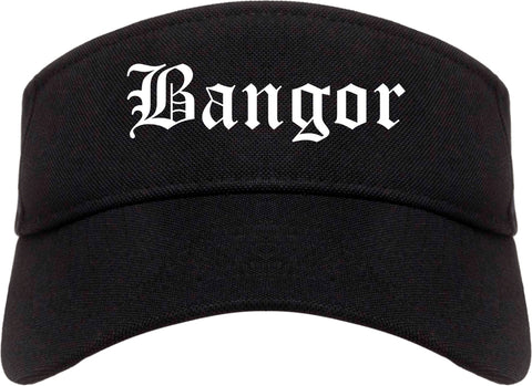 Bangor Maine ME Old English Mens Visor Cap Hat Black