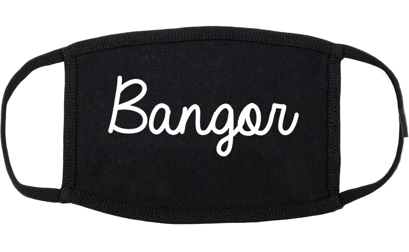 Bangor Pennsylvania PA Script Cotton Face Mask Black