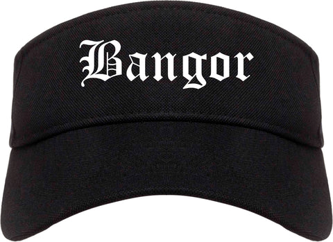 Bangor Pennsylvania PA Old English Mens Visor Cap Hat Black