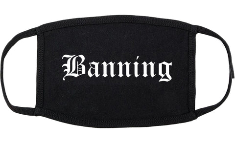 Banning California CA Old English Cotton Face Mask Black