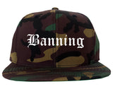 Banning California CA Old English Mens Snapback Hat Army Camo