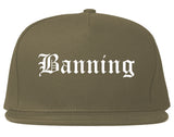 Banning California CA Old English Mens Snapback Hat Grey