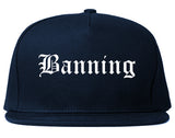 Banning California CA Old English Mens Snapback Hat Navy Blue