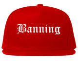 Banning California CA Old English Mens Snapback Hat Red