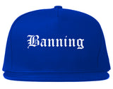 Banning California CA Old English Mens Snapback Hat Royal Blue