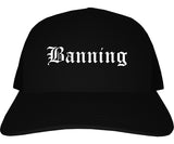 Banning California CA Old English Mens Trucker Hat Cap Black