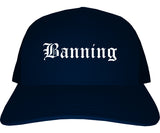 Banning California CA Old English Mens Trucker Hat Cap Navy Blue
