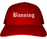 Banning California CA Old English Mens Trucker Hat Cap Red