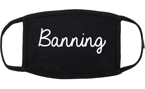 Banning California CA Script Cotton Face Mask Black