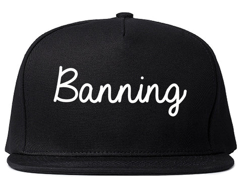 Banning California CA Script Mens Snapback Hat Black