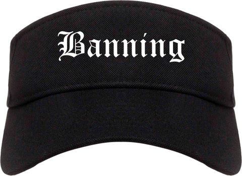 Banning California CA Old English Mens Visor Cap Hat Black