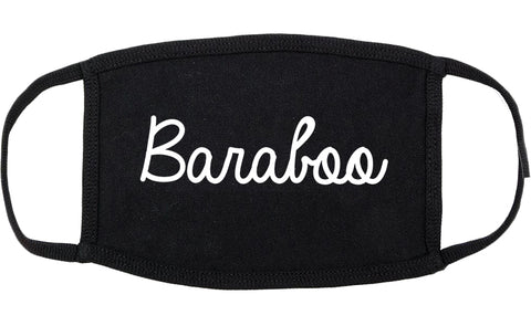 Baraboo Wisconsin WI Script Cotton Face Mask Black