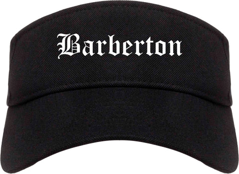 Barberton Ohio OH Old English Mens Visor Cap Hat Black
