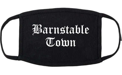Barnstable Town Massachusetts MA Old English Cotton Face Mask Black