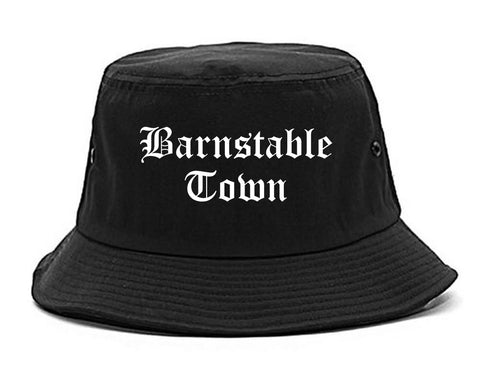 Barnstable Town Massachusetts MA Old English Mens Bucket Hat Black
